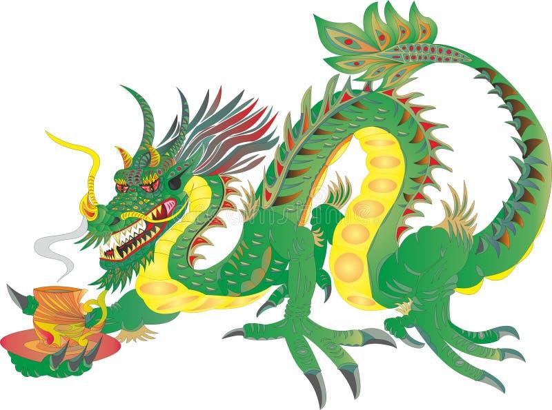 Chá chinês do dragão do poder ilustração do vetor