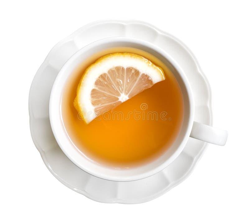 Chá cinzento do conde quente com opinião superior da fatia do limão isolado nos vagabundos brancos imagens de stock royalty free