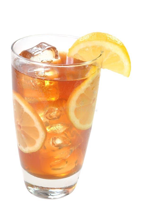 Chá congelado, limões, isolados, trajeto de grampeamento imagem de stock royalty free