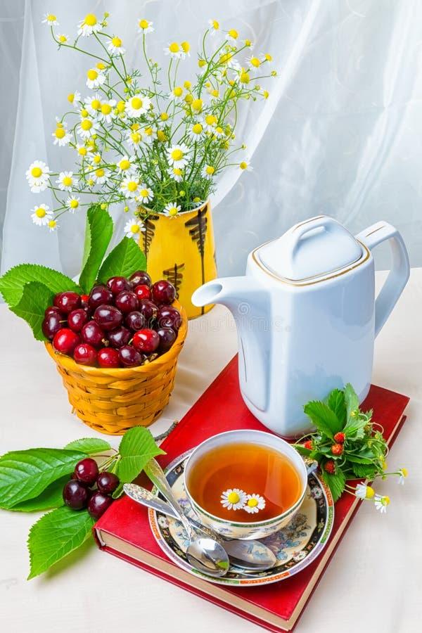 Chá, copo do chá, vários tipos do chá, chá na tabela imagens de stock
