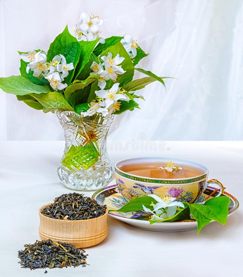Chá, copo do chá, vários tipos do chá, chá com jasmim fotografia de stock