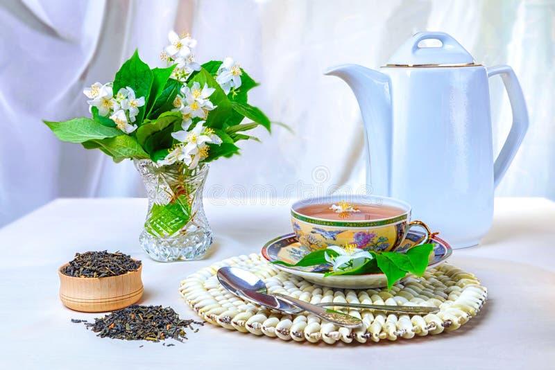 Chá, copo do chá, vários tipos do chá, chá com jasmim imagens de stock