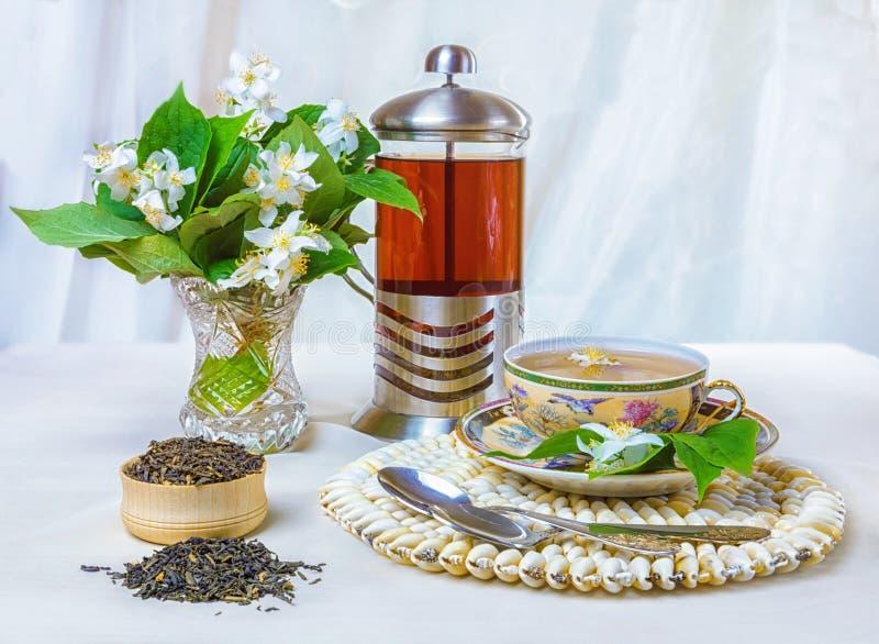 Chá, copo do chá, vários tipos do chá, chá com jasmim fotos de stock
