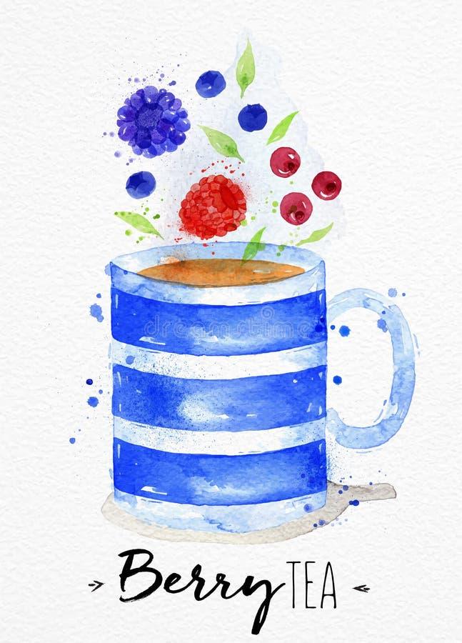Chá da baga da xícara de chá ilustração do vetor