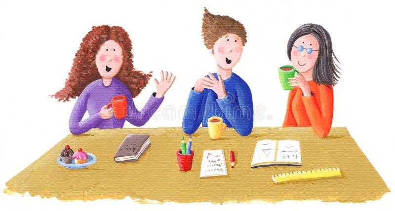 Chá da conversa e da bebida dos amigos ilustração do vetor
