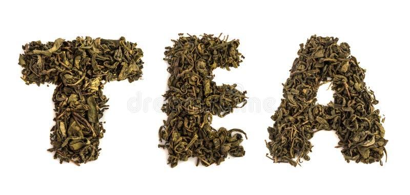 Chá da palavra feito das folhas secas imagem de stock