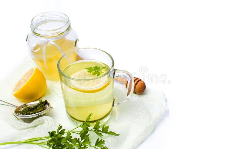 Chá da salsa com limão e mel imagem de stock royalty free