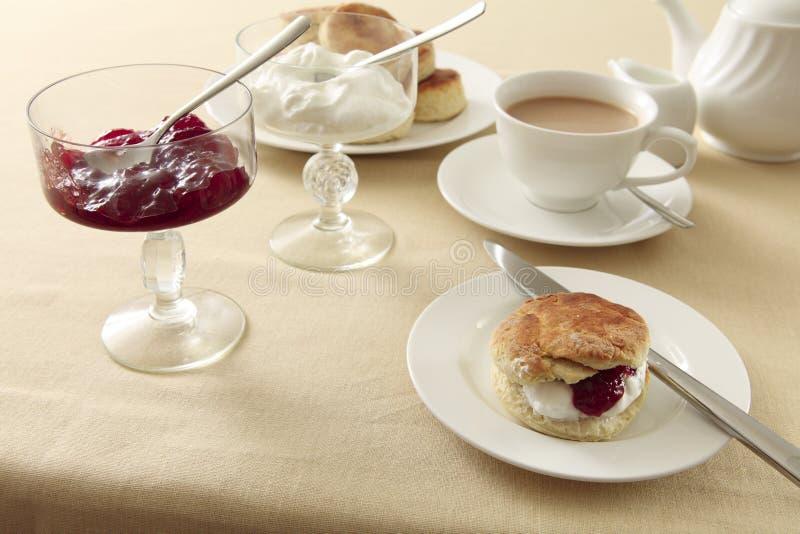 Chá de creme inglês horizontal fotografia de stock