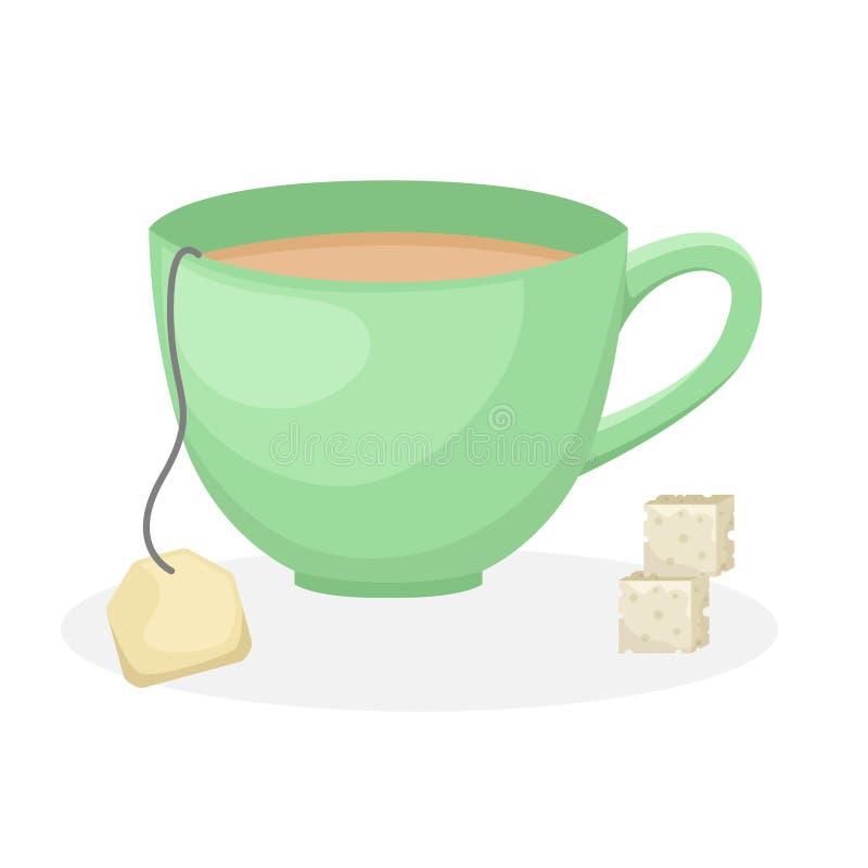 Chá de um saco em um copo verde e em duas partes de refinado ilustração royalty free
