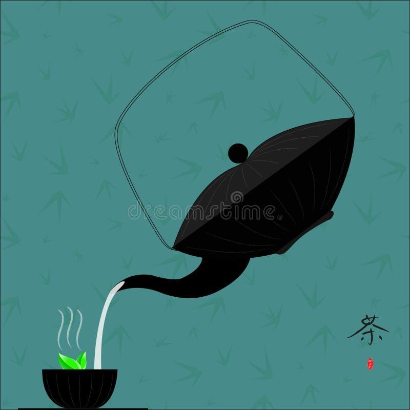 Chá do chinês tradicional com bambu ilustração do vetor