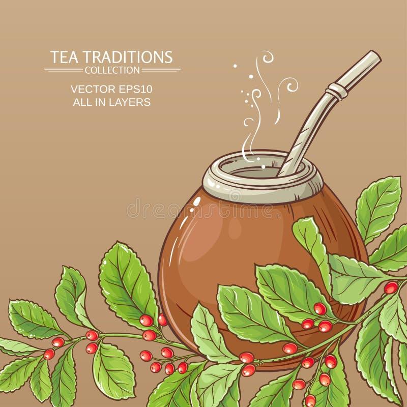 Chá do companheiro no cabaceiro ilustração royalty free