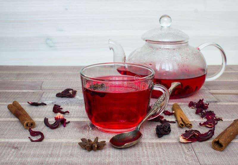 Chá do hibiscus no bule de vidro, no tampão com chá, nas especiarias e na flor seca foto de stock