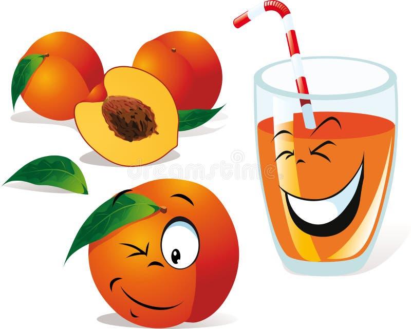 Chá do pêssego ou suco e pêssegos ilustração do vetor