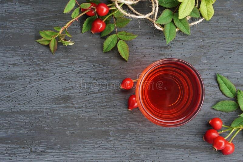 Chá do quadril de Rosa no fundo escuro foto de stock royalty free