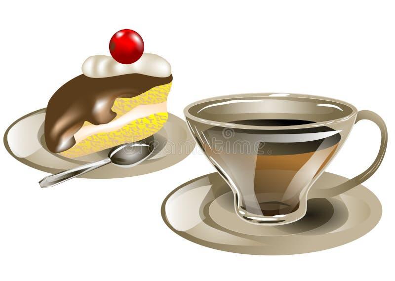 Chá e bolo ilustração royalty free