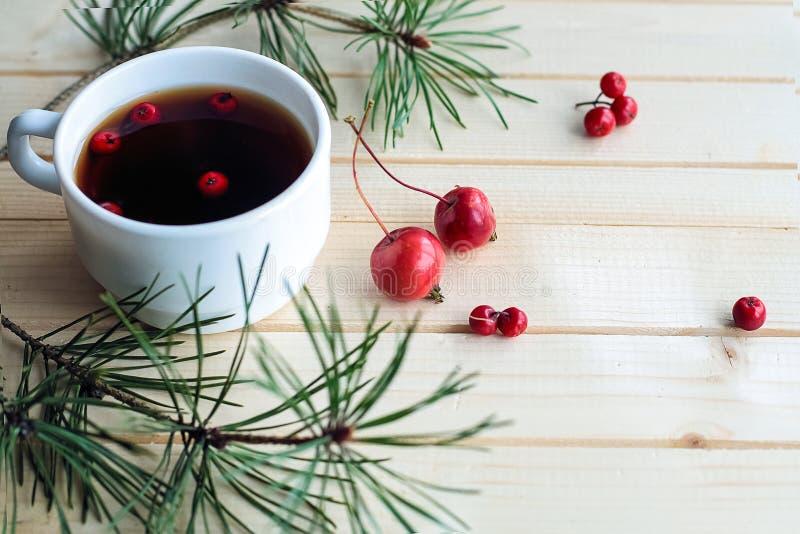 Chá e deleites para uma casa do feriado Eu bebo porcas e bagas Spr fotografia de stock