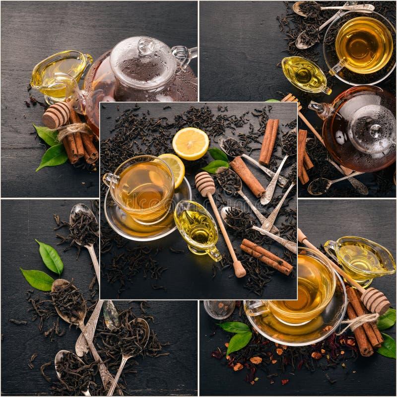 Chá e folhas de chá da colagem da foto imagem de stock