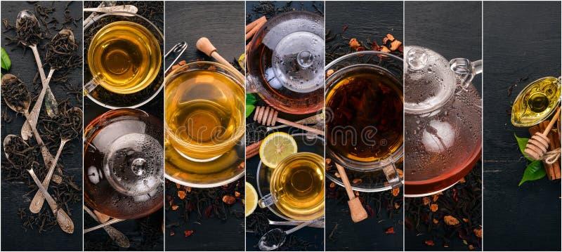 Chá e folhas de chá da colagem da foto foto de stock royalty free