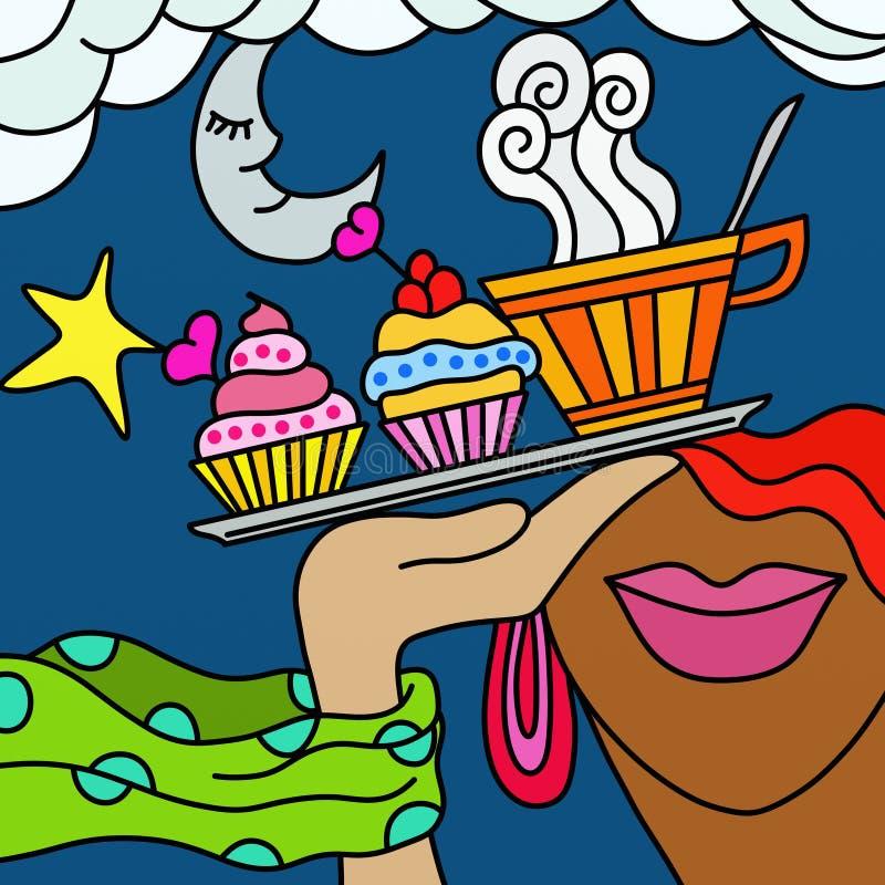 Chá e pastelarias ilustração royalty free