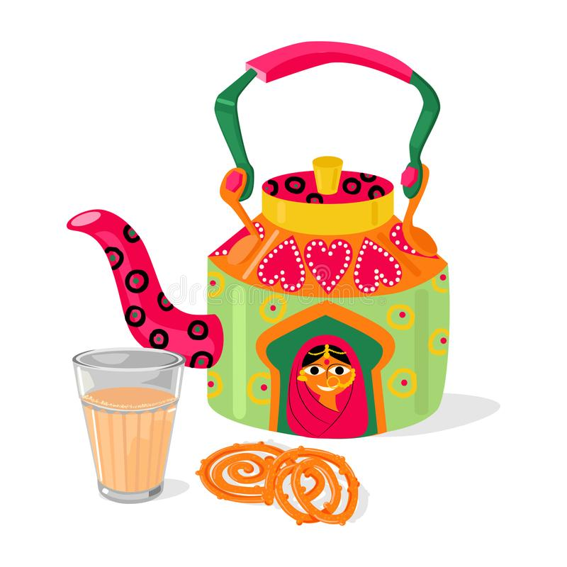Chá indiano bonito de chai da chaleira e do masala Jalebi tradicional dos doces Ilustração do vetor ilustração stock