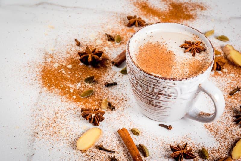 Chá indiano tradicional de chai do masala imagens de stock