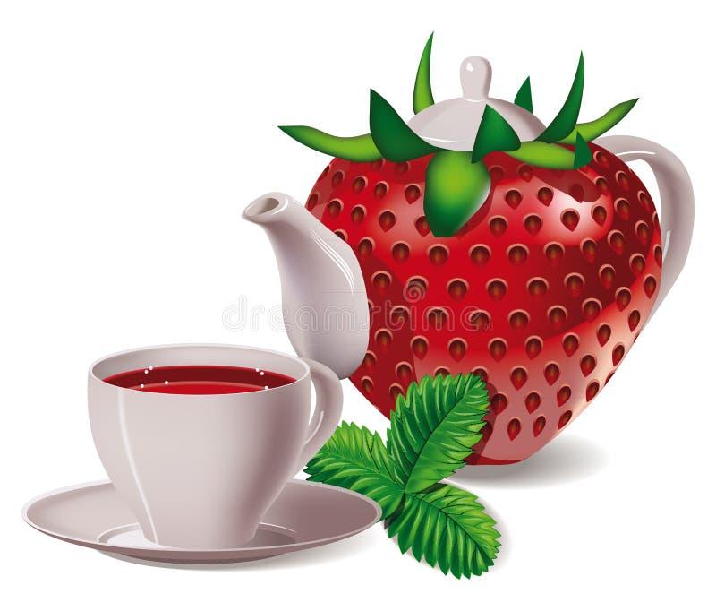 Chá Morangos ilustração stock