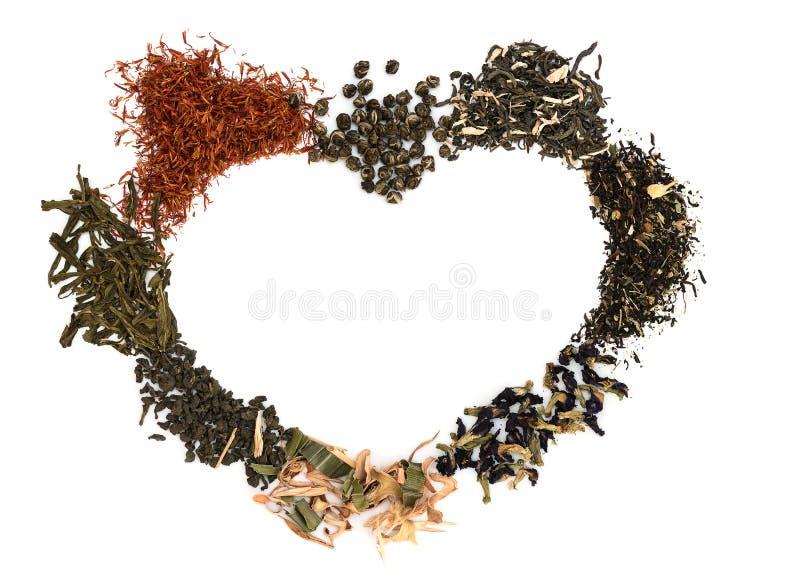 Chá na forma do coração foto de stock