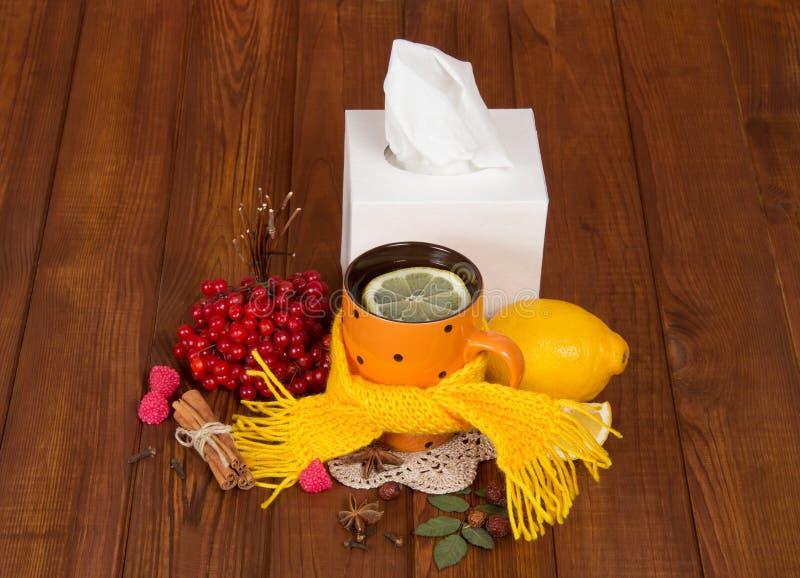Chá quente com o limão dos frios, lenço morno, bagas do viburnum, na tabela foto de stock royalty free