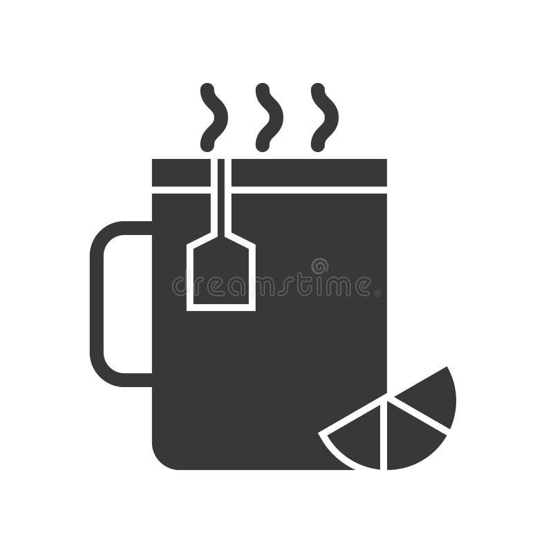 Chá quente do limão no grupo do copo, do alimento e da bebida, ícone do projeto do glyph ilustração stock
