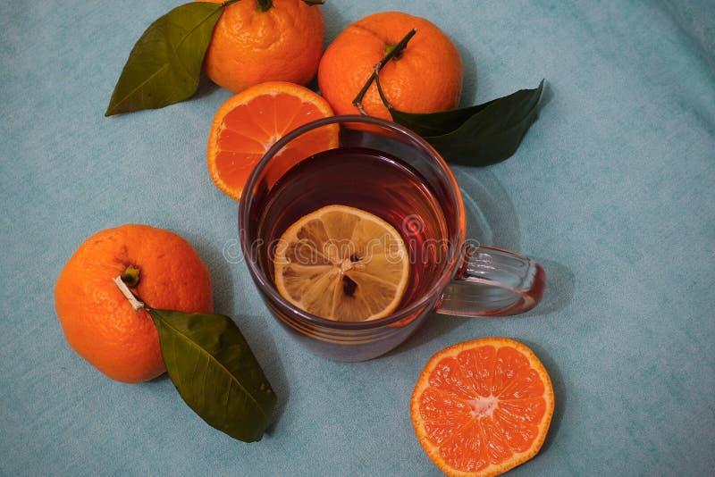 Chá quente na tarde do outono Um copo do chá, os mandarino alaranjados Vista de acima foto de stock royalty free