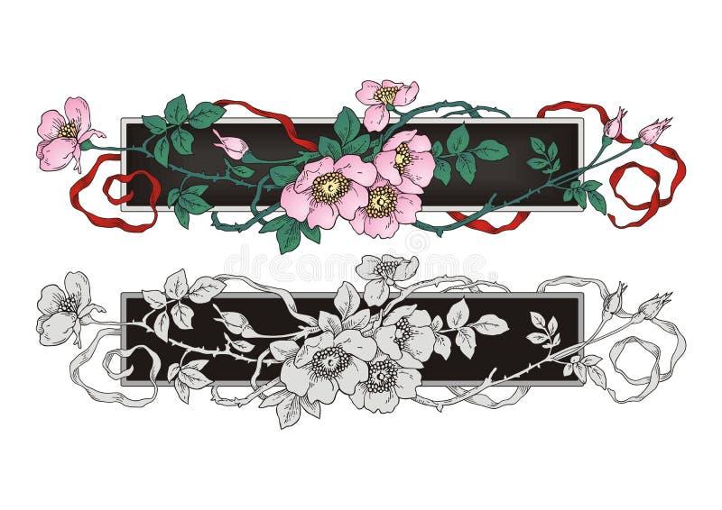 Chá Rose Flower Frame Ornament ilustração royalty free