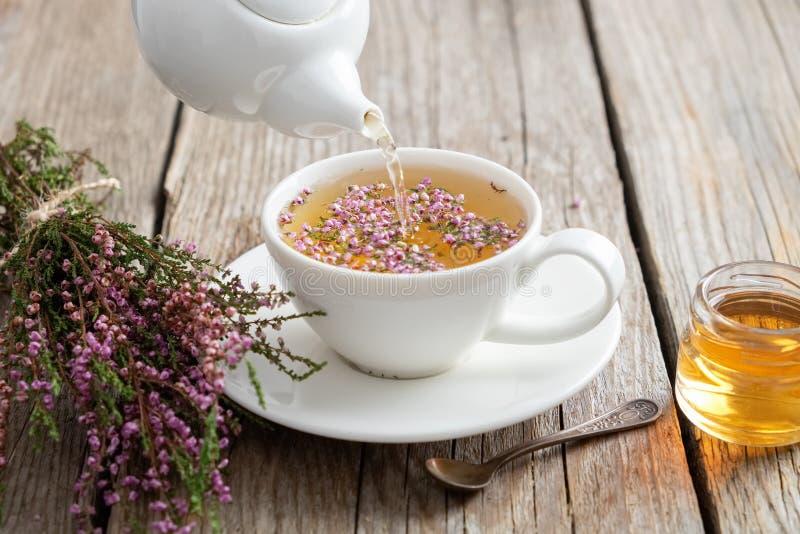 Chá saudável da urze derramado no copo branco Bule, frasco do mel e grupo da urze fotografia de stock royalty free