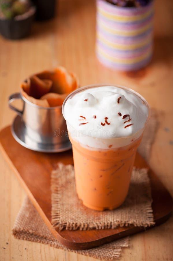 Chá tailandês congelado do leite fotos de stock