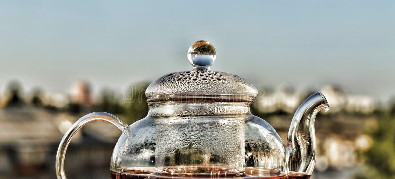 Chá Teapot com chá Chá do café da manhã em um bule de vidro no fundo da cidade moderna Adultos novos foto de stock