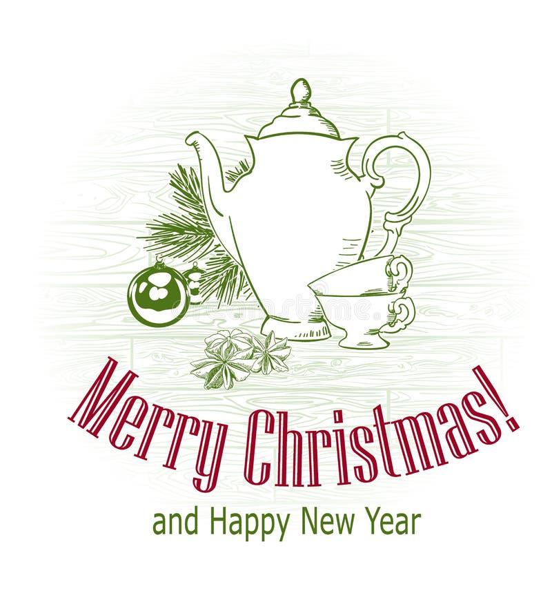 Chá tirado dos copos do bule da árvore do esboço do vetor do cartão de Natal estilo retro foto de stock royalty free