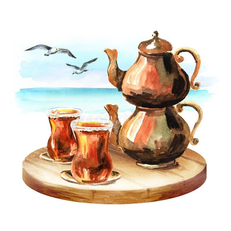 Chá turco no vidro tradicional e com o potenciômetro de cobre do chá no fundo do mar Ilustração tirada mão da aquarela ilustração stock