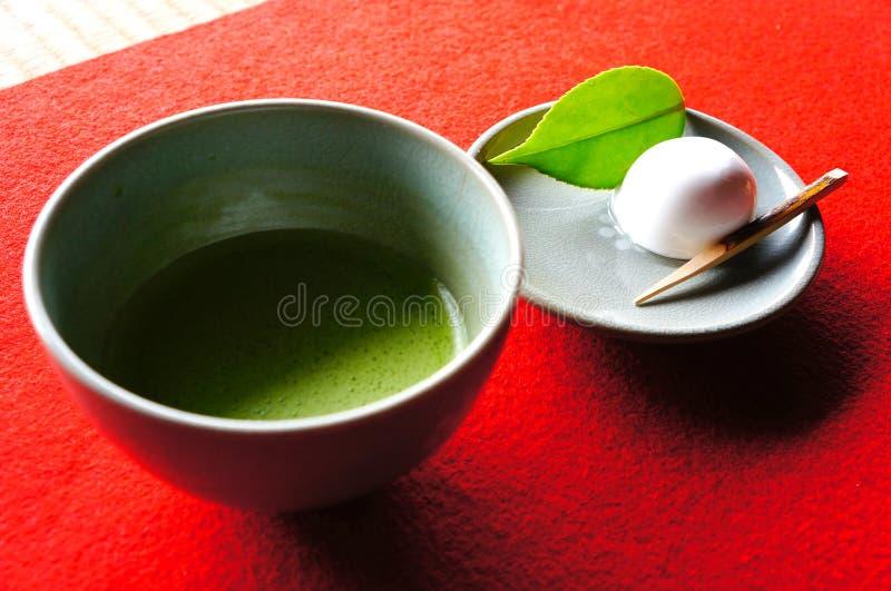 Chá verde de Daifuku e de Matcha imagens de stock royalty free
