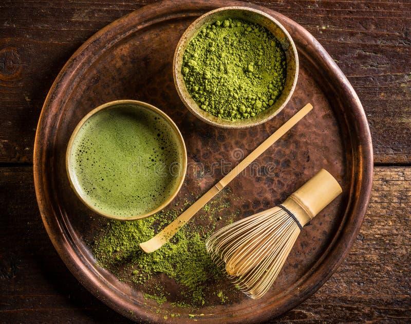 Chá verde de Matcha do japonês imagens de stock royalty free