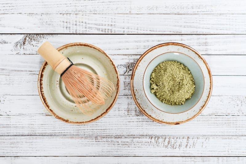 Chá verde de Matcha no pó imagem de stock royalty free