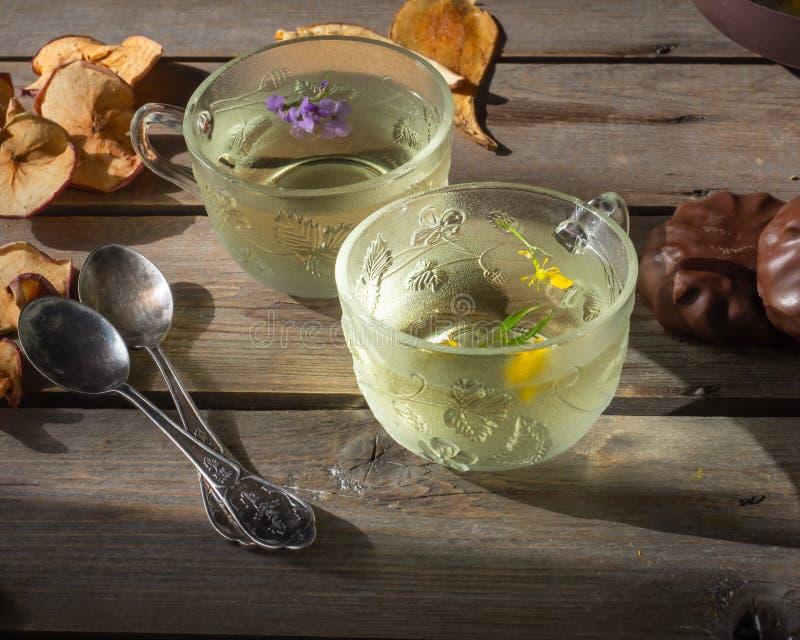 Chá verde de Verão em canecas transparentes com marshmallows e pedaços de fruta secos fotos de stock royalty free