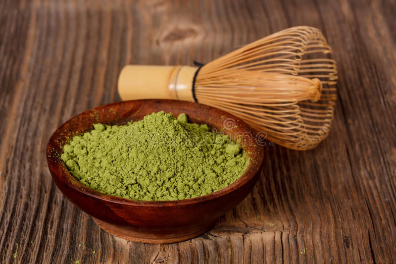 Chá verde do pó imagem de stock