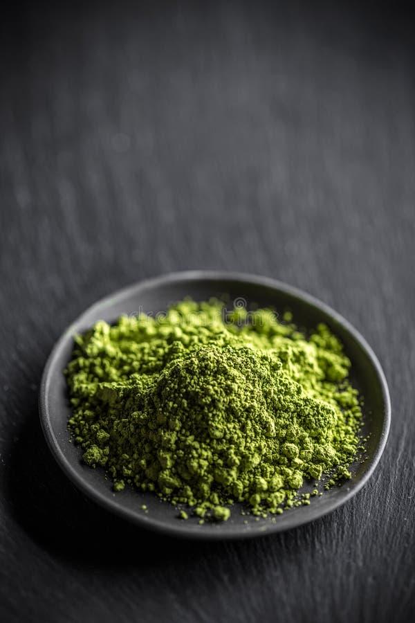 Chá verde do pó fotografia de stock royalty free