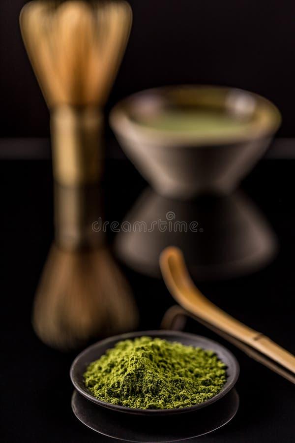 Chá verde do pó foto de stock royalty free