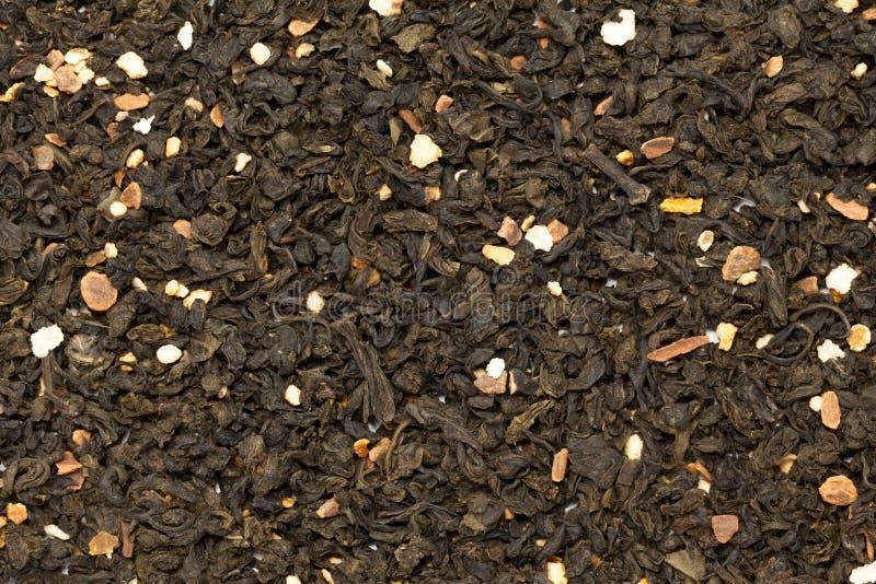 Chá verde do sinensis alaranjado orgânico do citrino da flor Textura macro do fundo do close up fotografia de stock