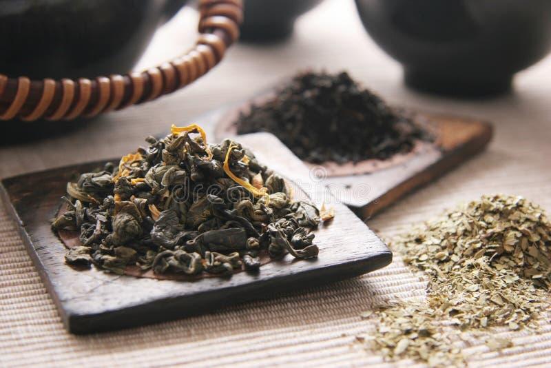 Chá verde e preto. fotografia de stock