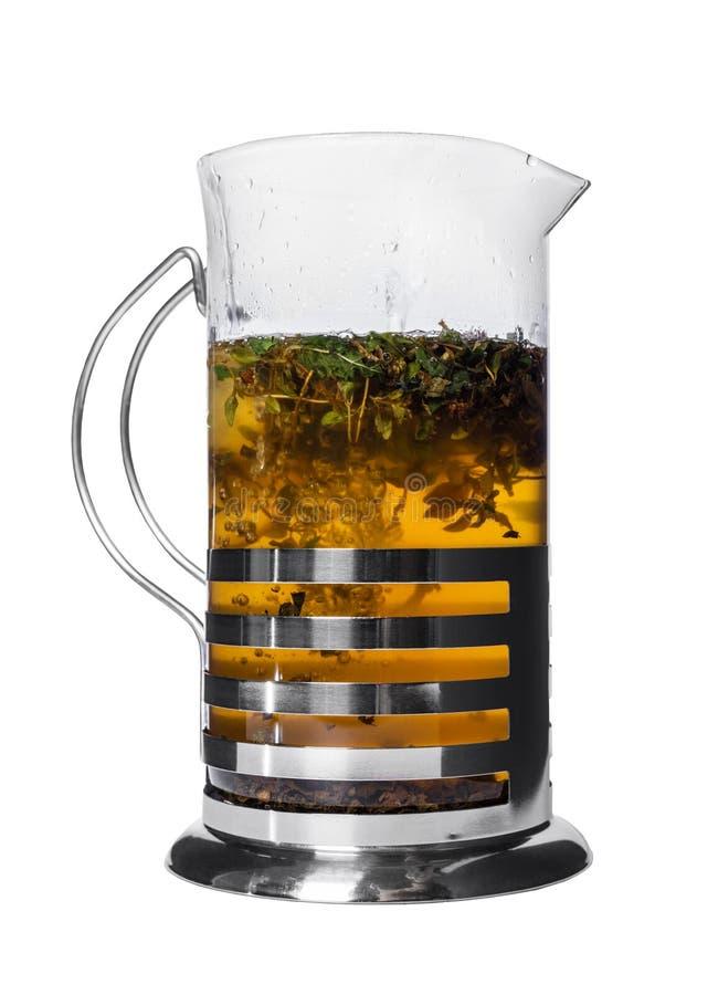 Chá verde em um bule foto de stock