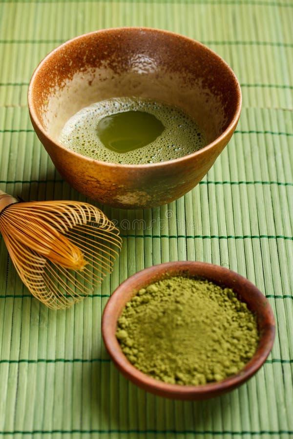 Chá verde pulverizado fotografia de stock