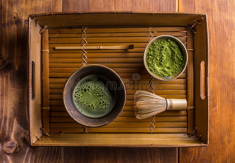 Chá verde pulverizado imagem de stock