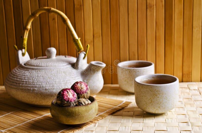 Chá verde redondo imagens de stock