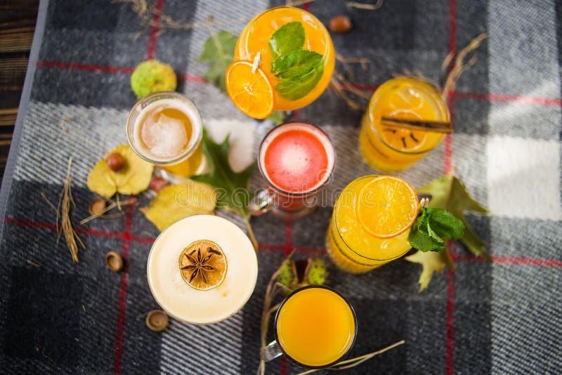 Chás do fruto com cocktail alcoólicos imagens de stock